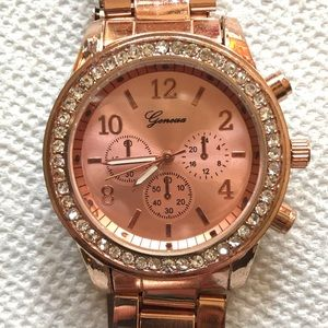 Geneva Rose Gold Link Band Watch - Works Great